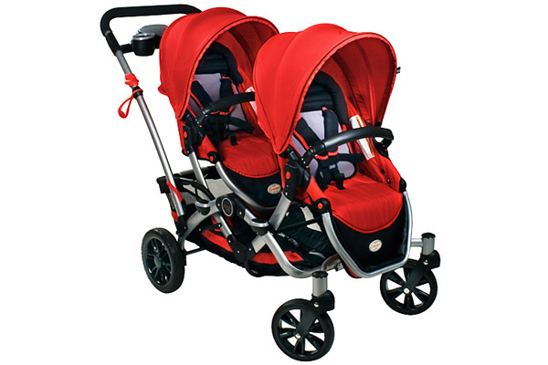 A Red Double Stroller